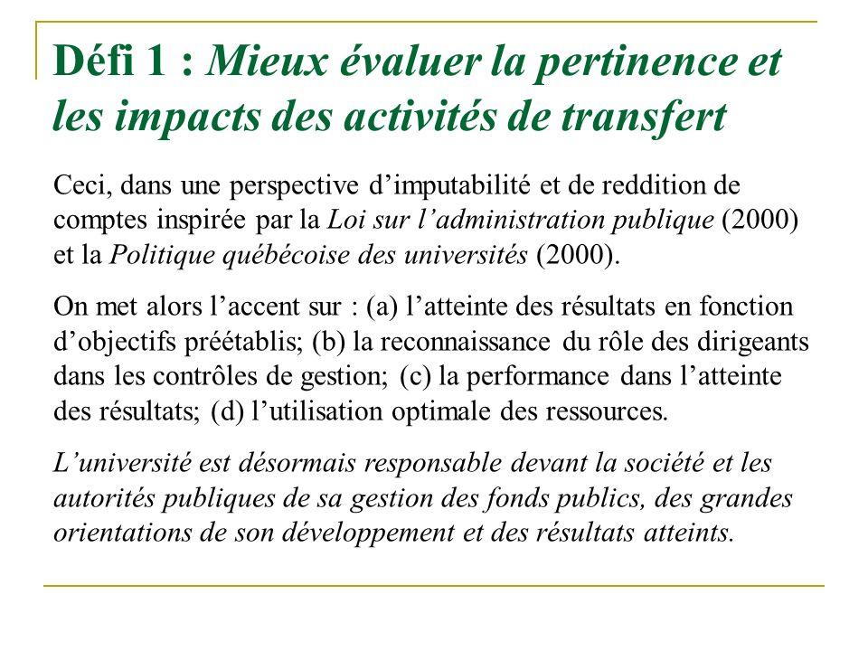 Défi 1 : Mieux évaluer la pertinence et les impacts des activités de transfert