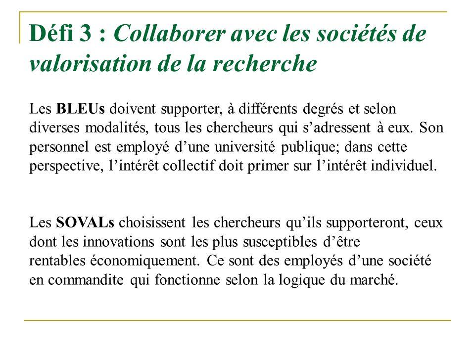 Défi 3 : Collaborer avec les sociétés de valorisation de la recherche