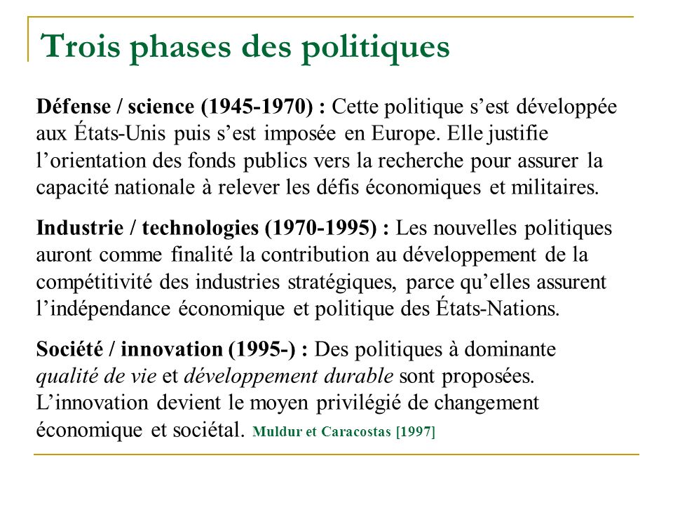 Trois phases des politiques