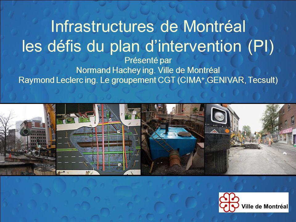 Infrastructures de Montréal les défis du plan d'intervention (PI) Présenté par Normand Hachey ing.