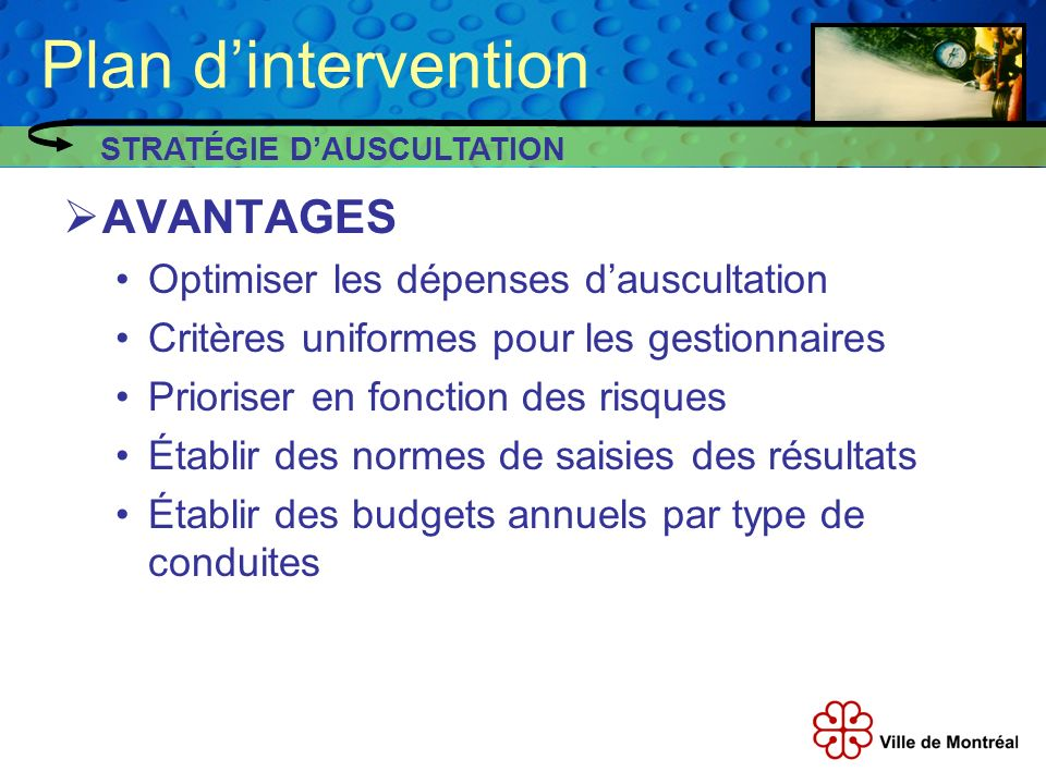 Plan d'intervention AVANTAGES Optimiser les dépenses d'auscultation