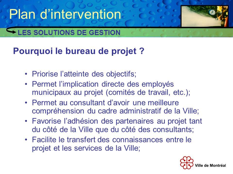 Plan d'intervention Pourquoi le bureau de projet