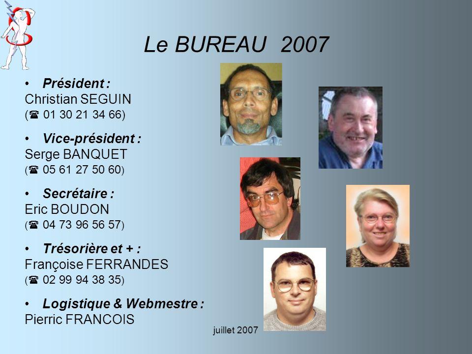 Le BUREAU 2007 Président : Christian SEGUIN Vice-président :