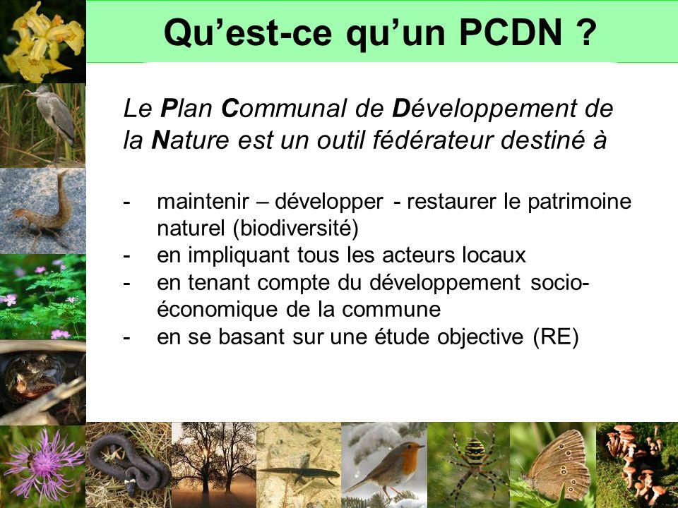 Qu'est-ce qu'un PCDN Le Plan Communal de Développement de la Nature est un outil fédérateur destiné à.