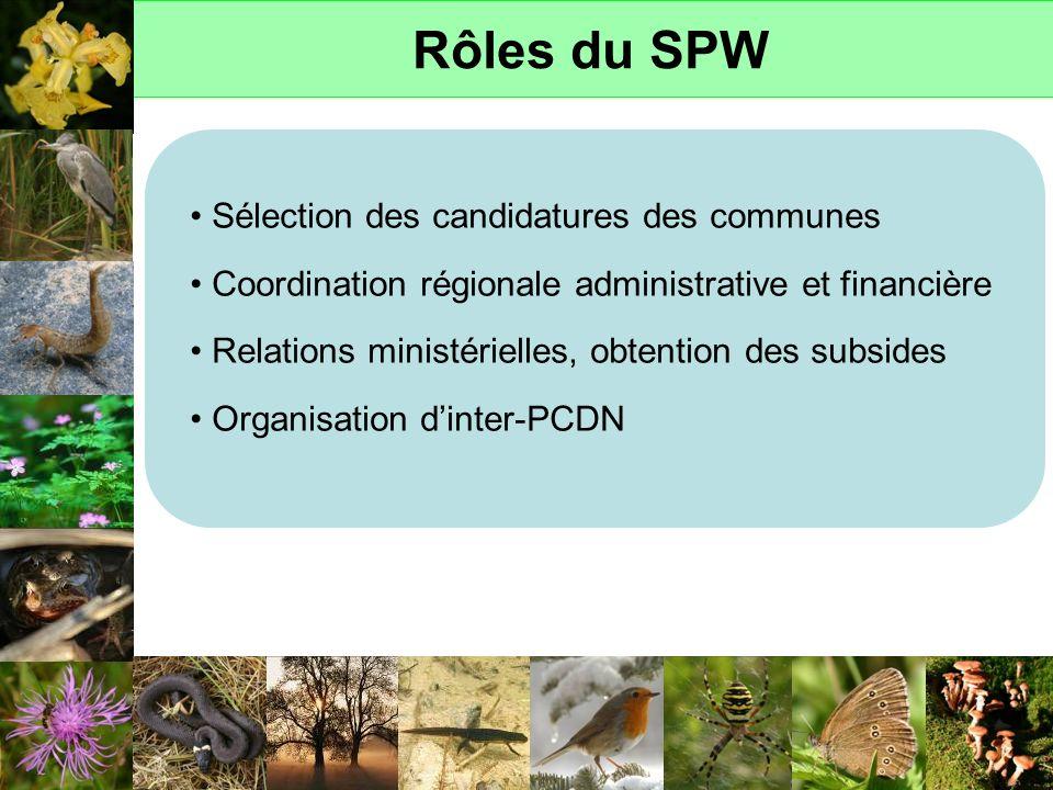 Rôles du SPW Sélection des candidatures des communes