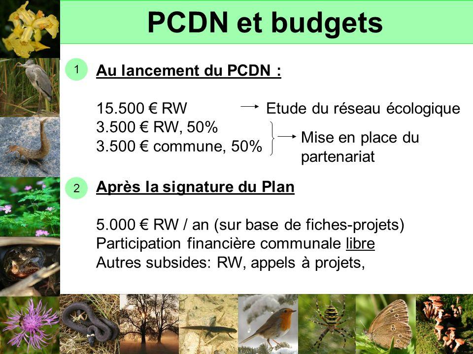 PCDN et budgets Au lancement du PCDN :