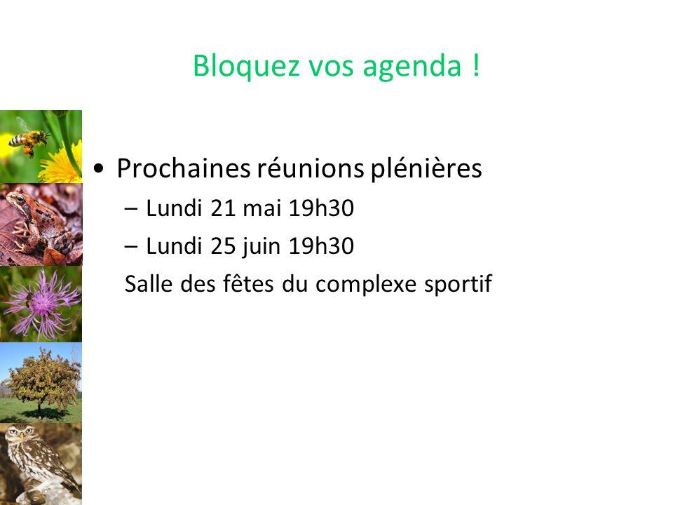 Bloquez vos agenda ! Prochaines réunions plénières Lundi 21 mai 19h30