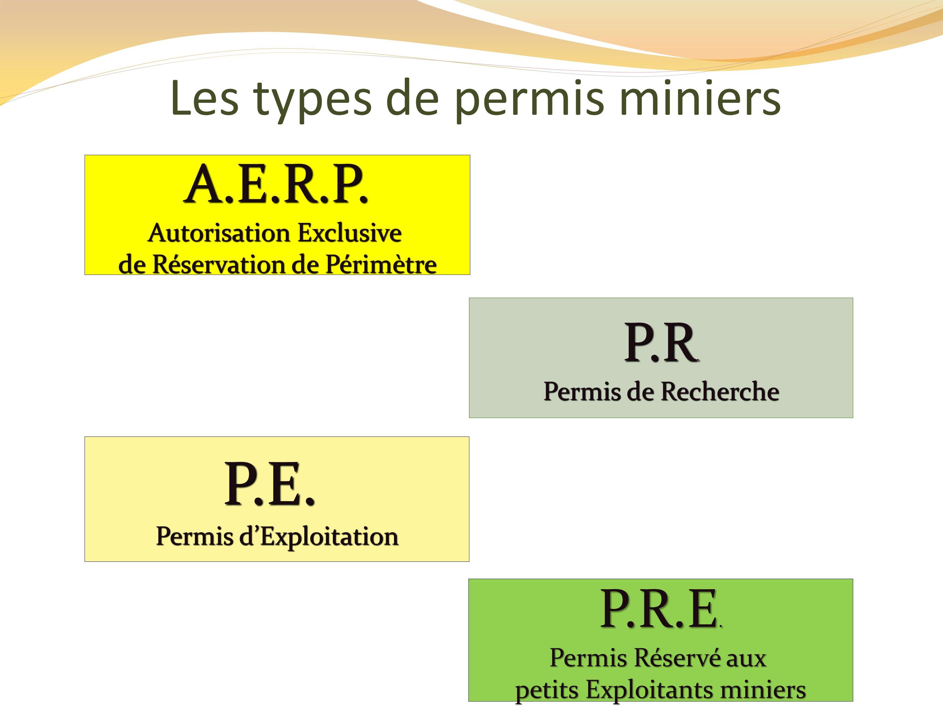 P.E. A.E.R.P. P.R. P.R.E. Les types de permis miniers