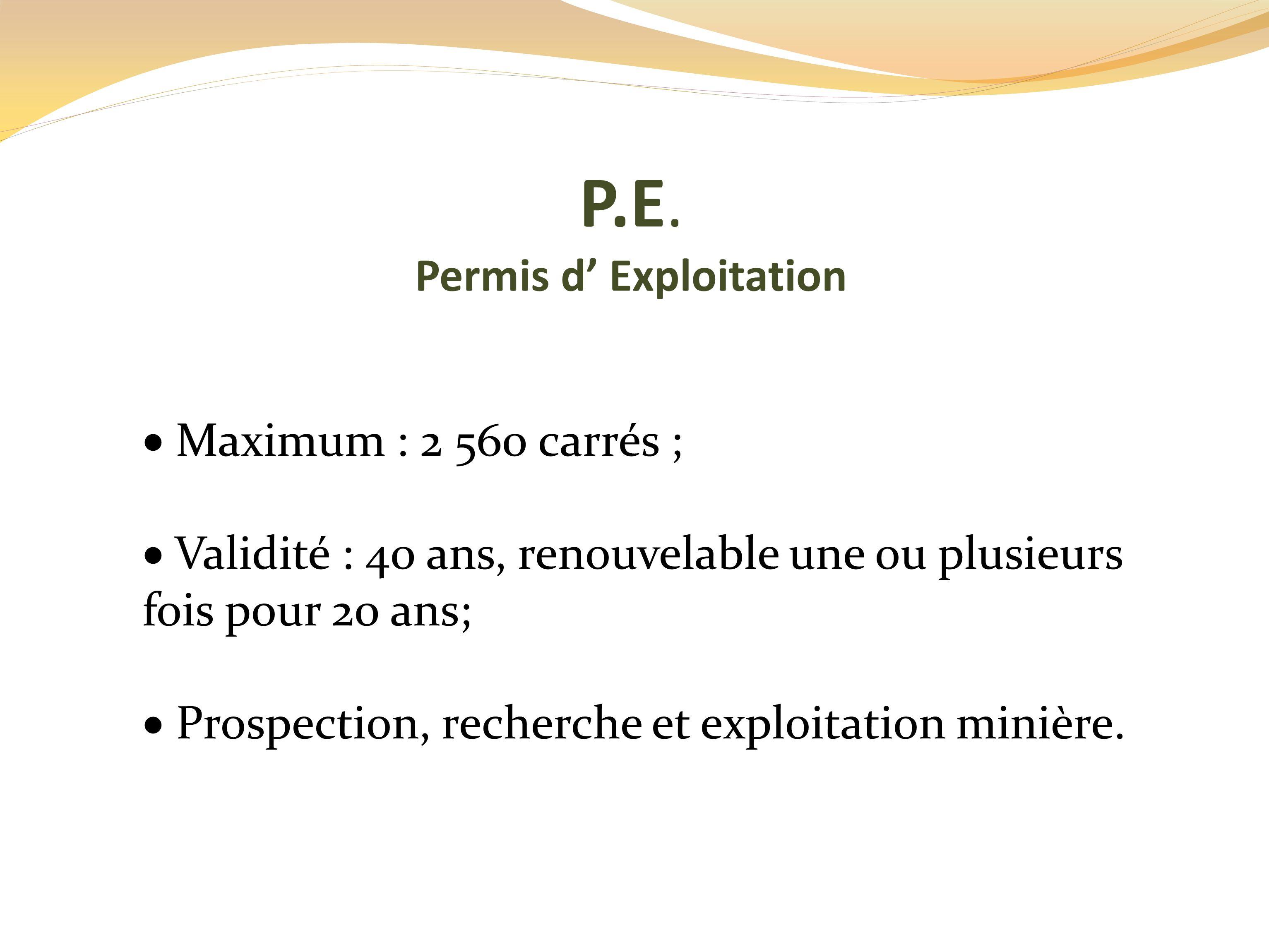 Permis d' Exploitation