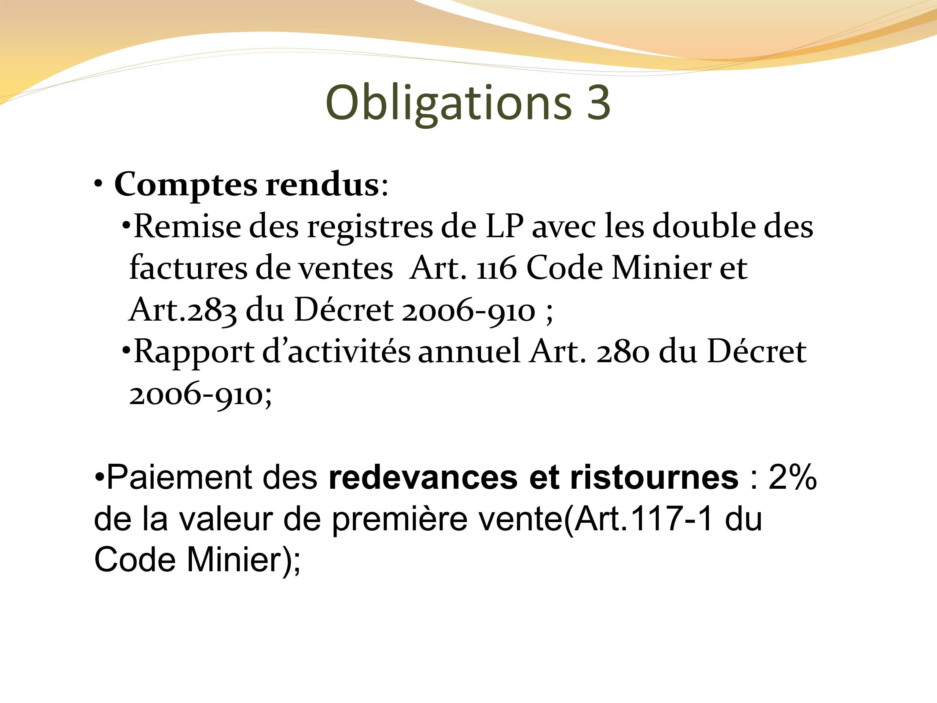 Obligations 3 Comptes rendus: