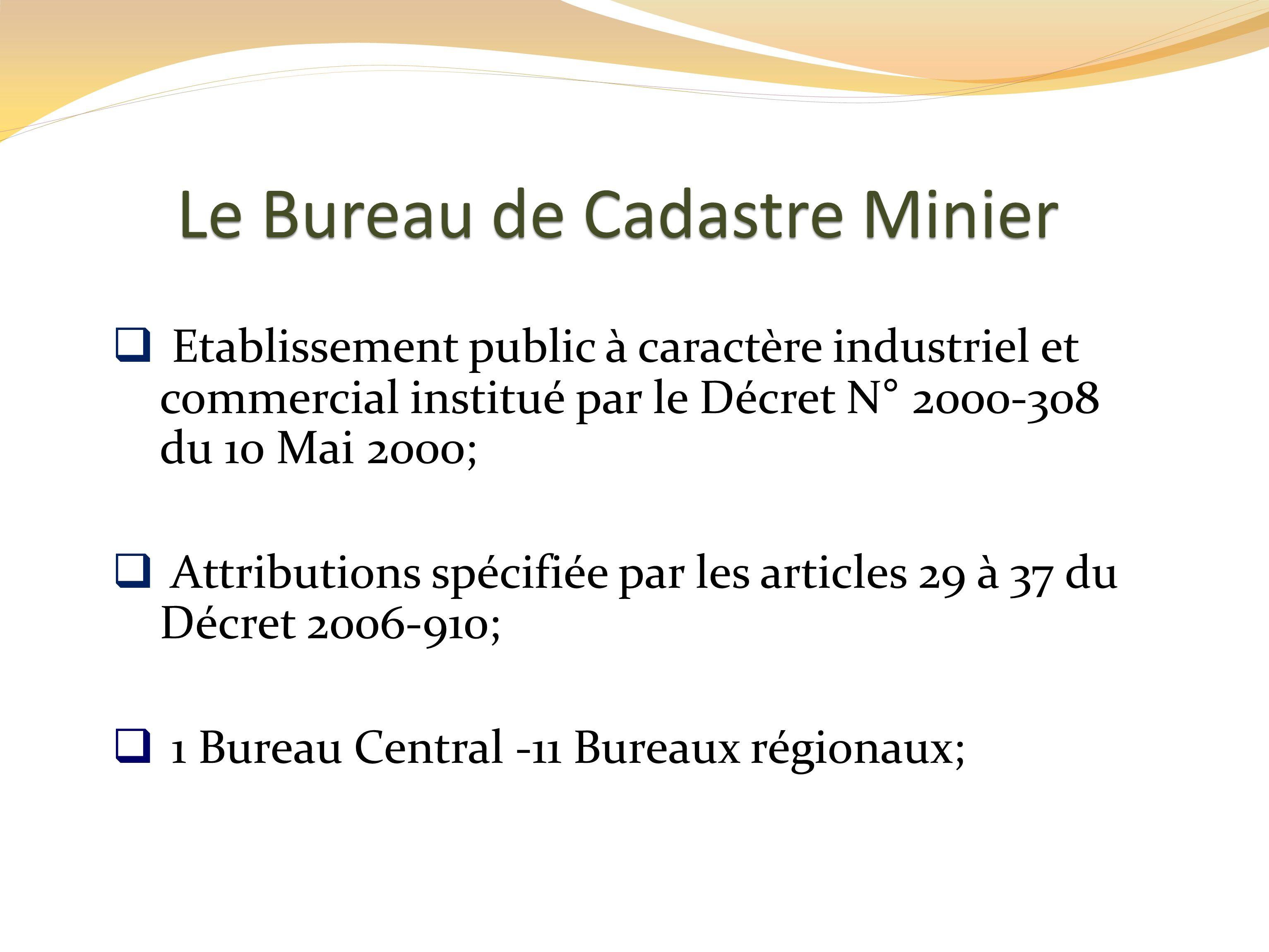 Le Bureau de Cadastre Minier
