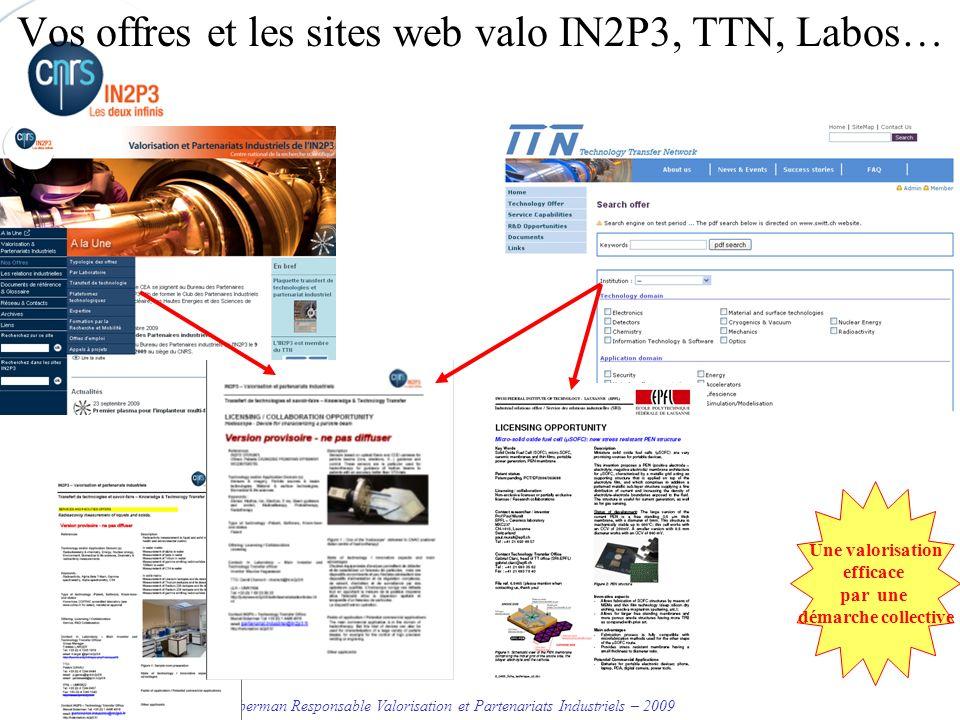 Vos offres et les sites web valo IN2P3, TTN, Labos…
