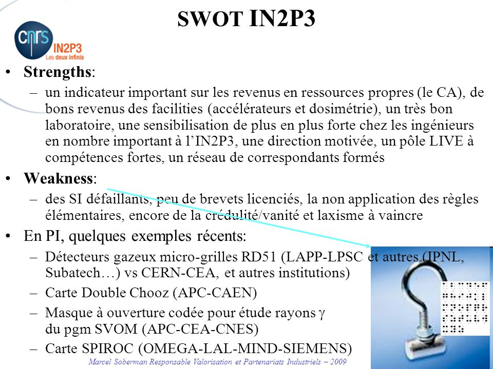 SWOT IN2P3 Strengths: Weakness: En PI, quelques exemples récents: