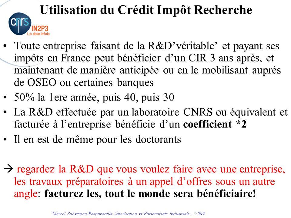 Utilisation du Crédit Impôt Recherche