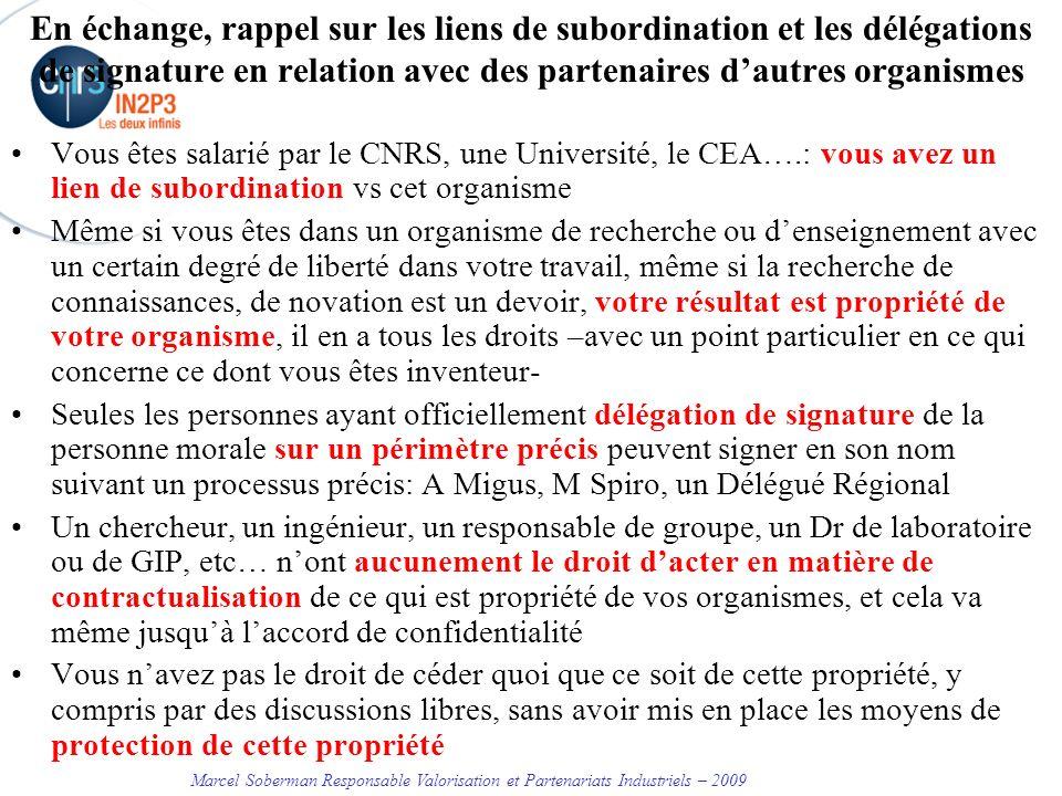 En échange, rappel sur les liens de subordination et les délégations de signature en relation avec des partenaires d'autres organismes