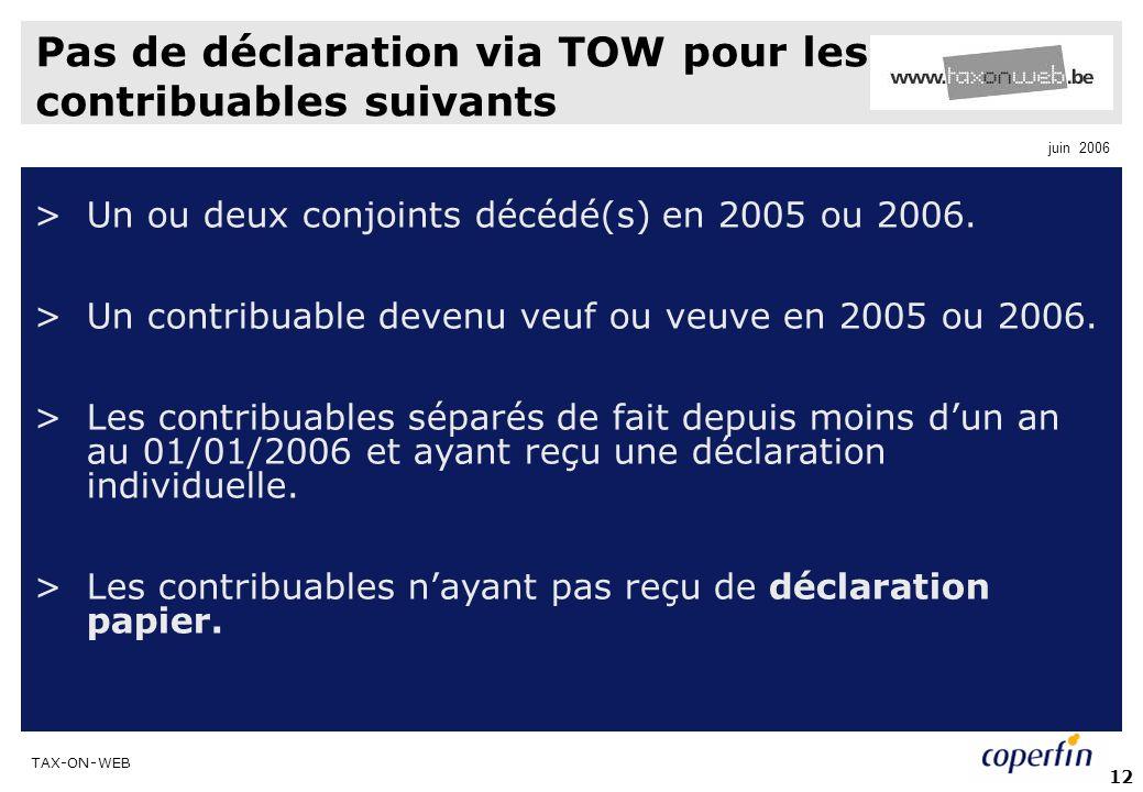 Pas de déclaration via TOW pour les contribuables suivants