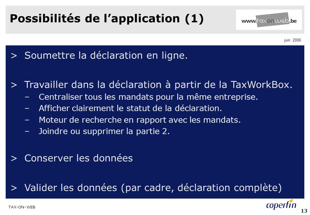 Possibilités de l'application (1)