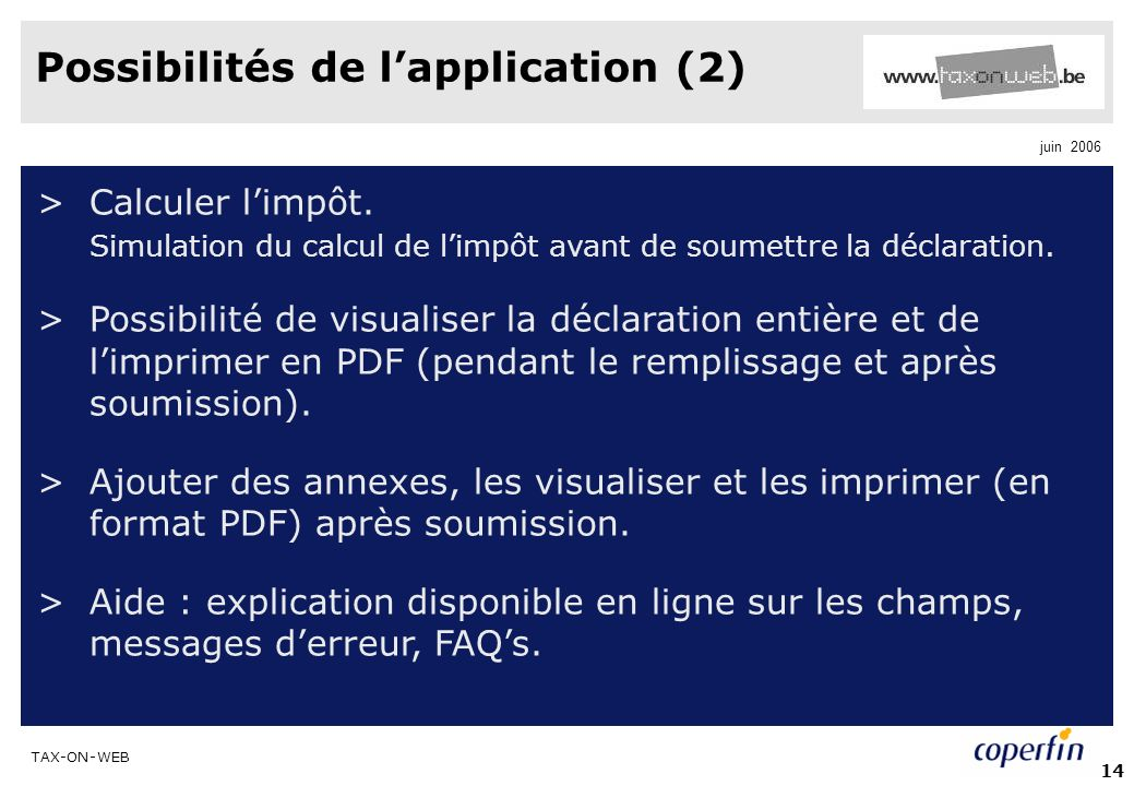 Possibilités de l'application (2)