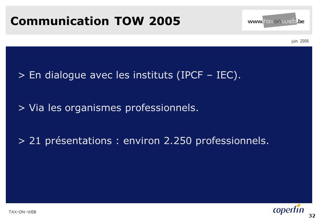 Communication TOW 2005 > En dialogue avec les instituts (IPCF – IEC). > Via les organismes professionnels.