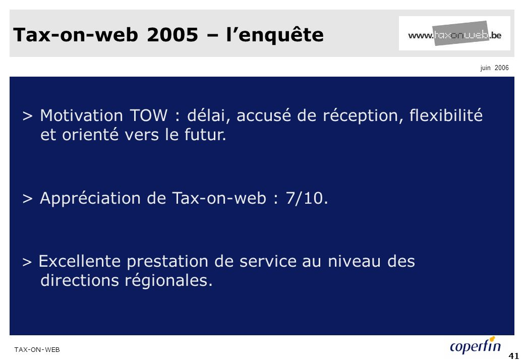 Tax-on-web 2005 – l'enquête