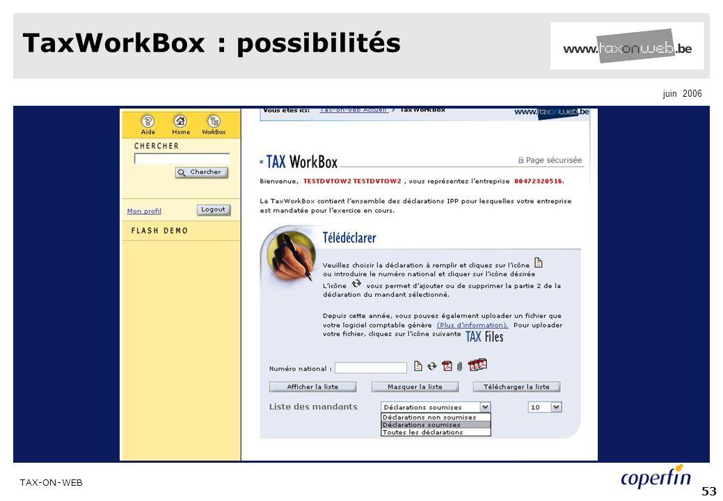 TaxWorkBox : possibilités