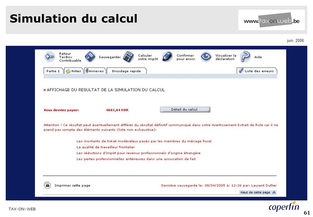 Simulation du calcul