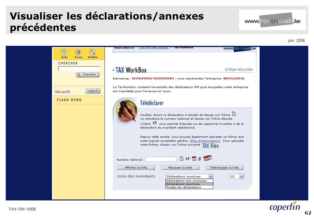 Visualiser les déclarations/annexes précédentes