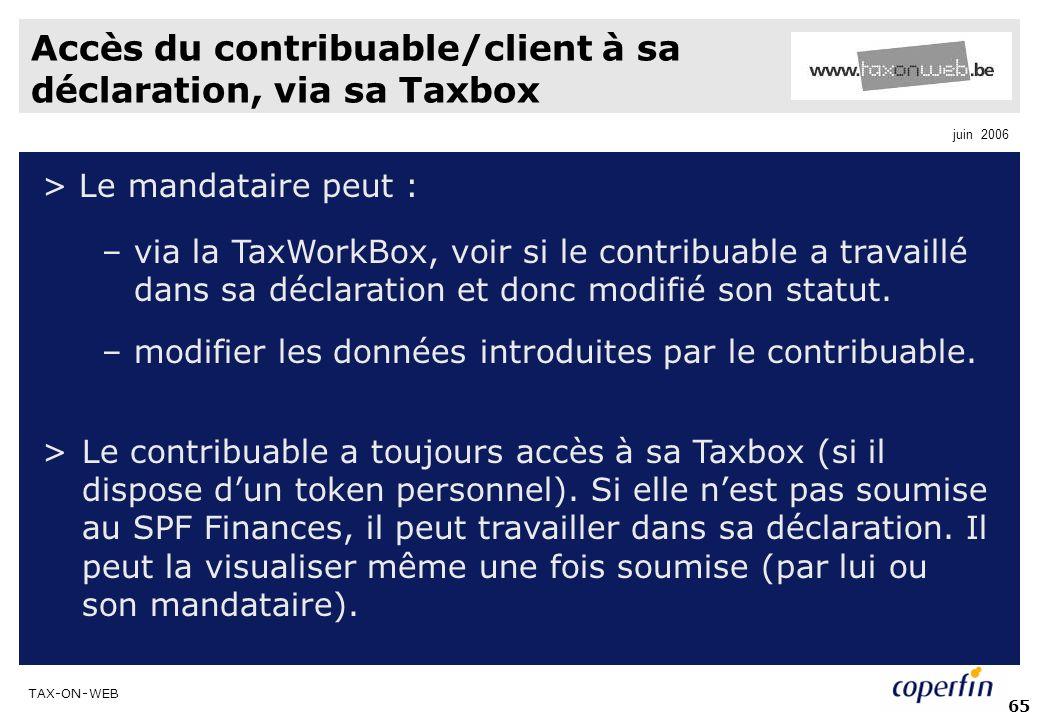 Accès du contribuable/client à sa déclaration, via sa Taxbox