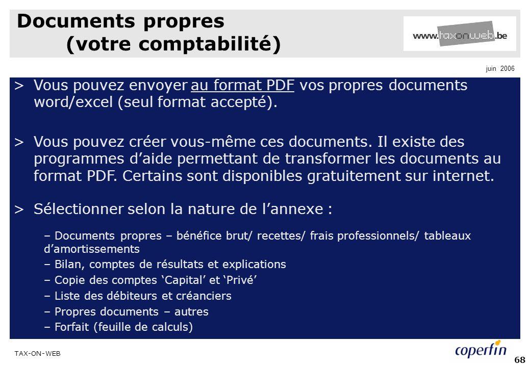Documents propres (votre comptabilité)