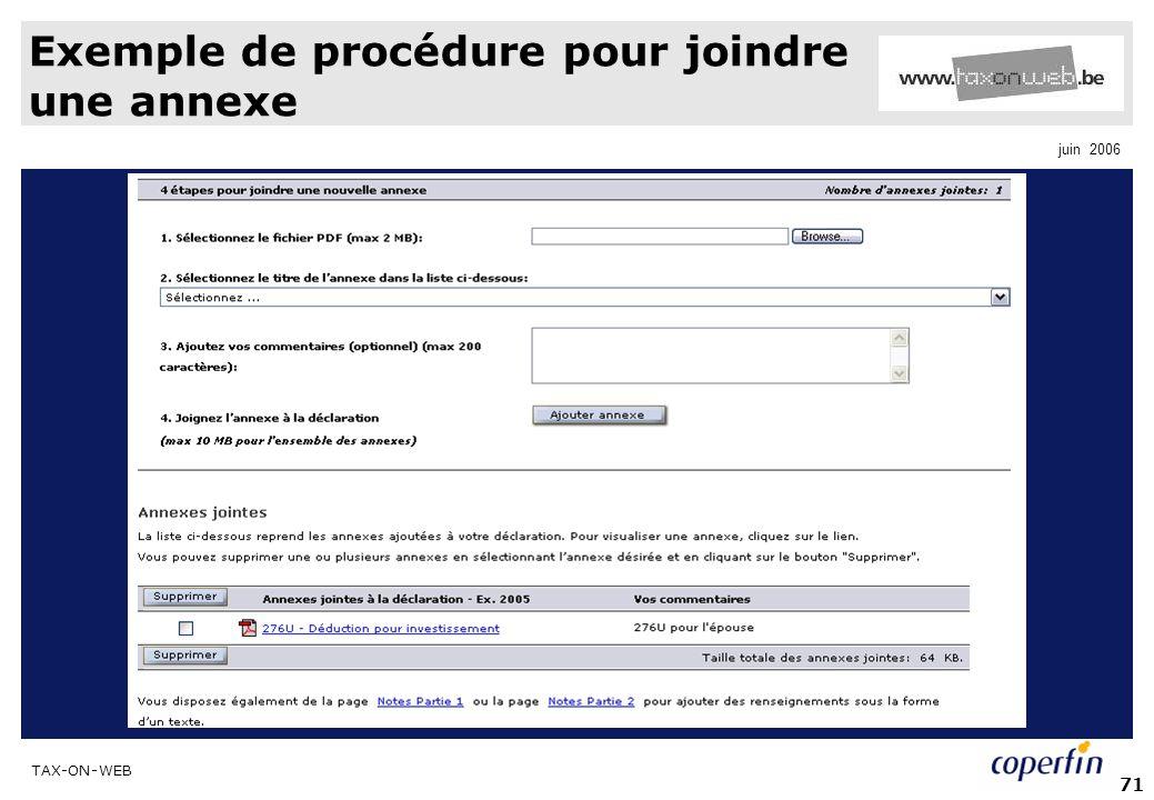 Exemple de procédure pour joindre une annexe