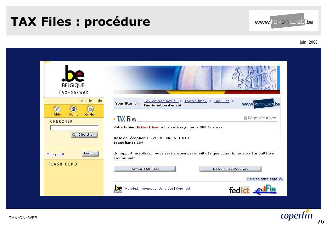TAX Files : procédure