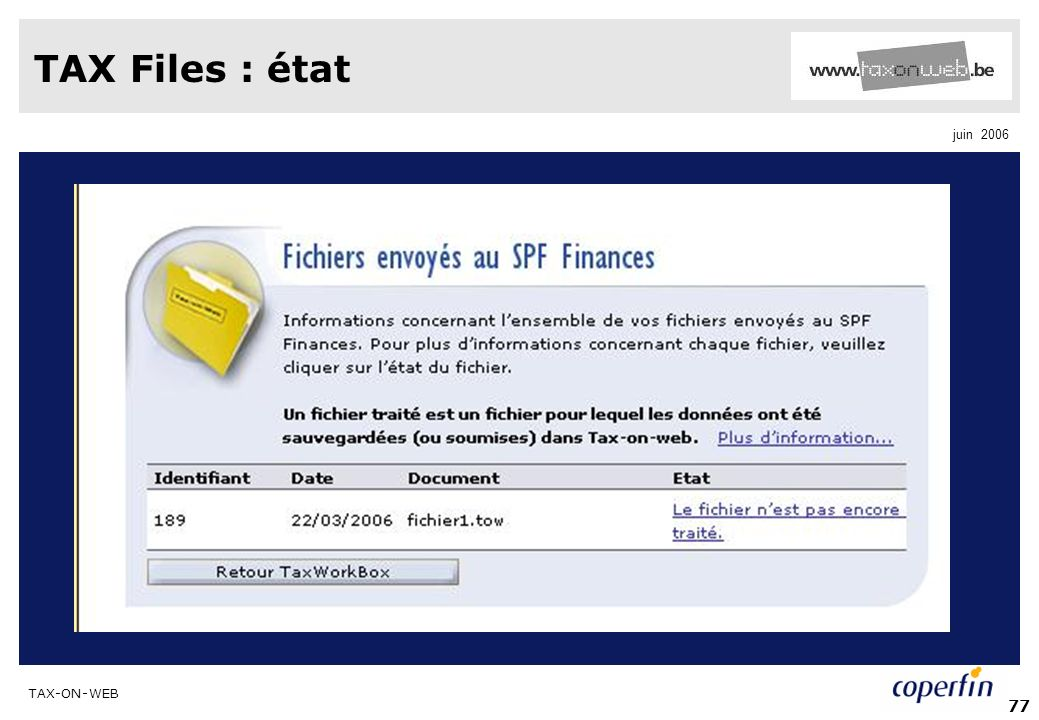 TAX Files : état