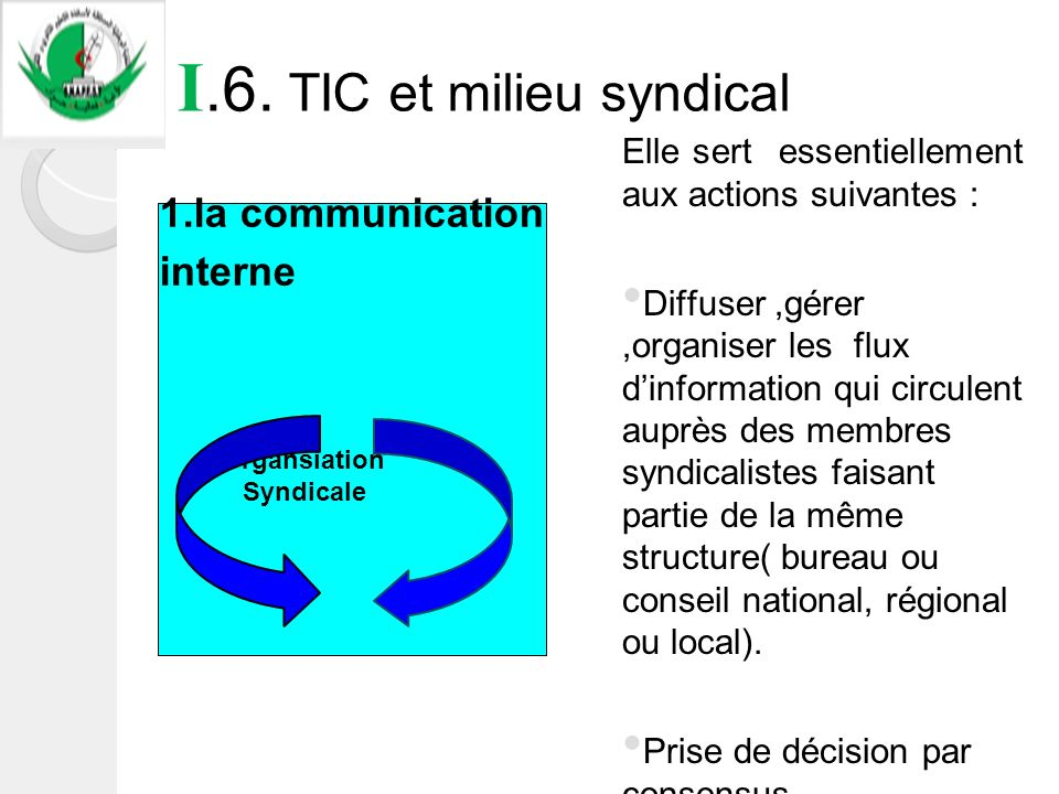 I.6. TIC et milieu syndical