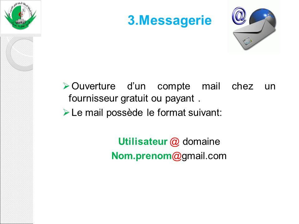 3.Messagerie Ouverture d'un compte mail chez un fournisseur gratuit ou payant . Le mail possède le format suivant: