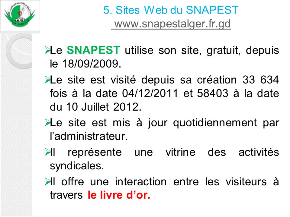 5. Sites Web du SNAPEST www.snapestalger.fr.gd