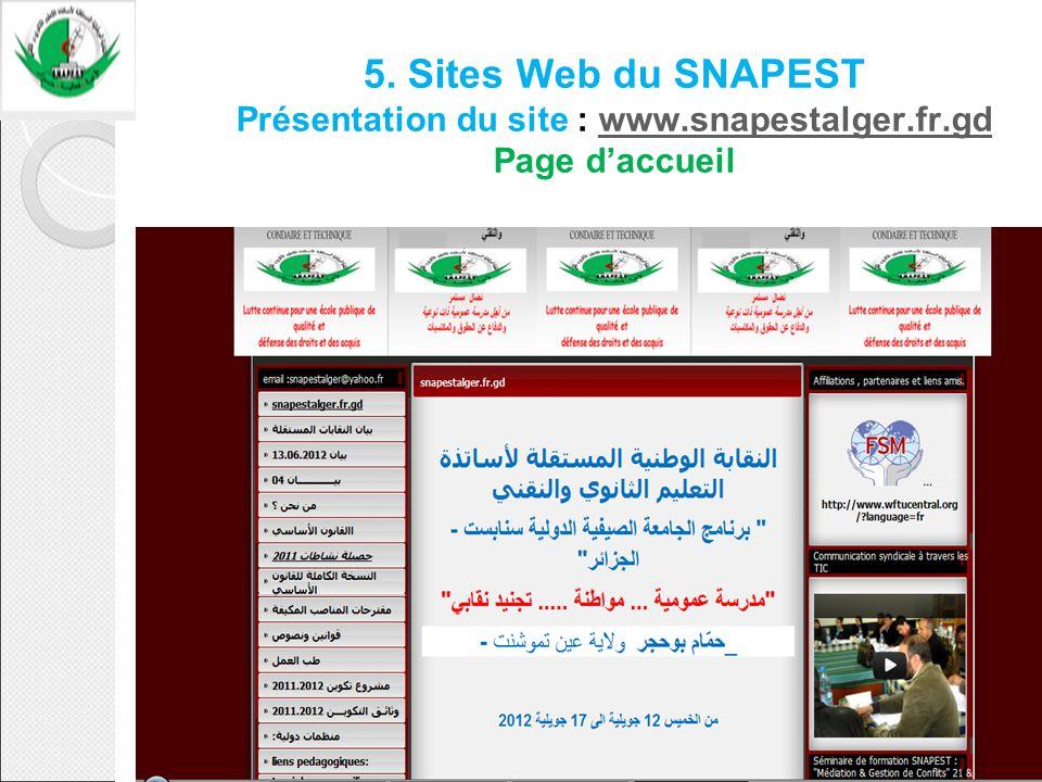 5. Sites Web du SNAPEST Présentation du site : www. snapestalger. fr