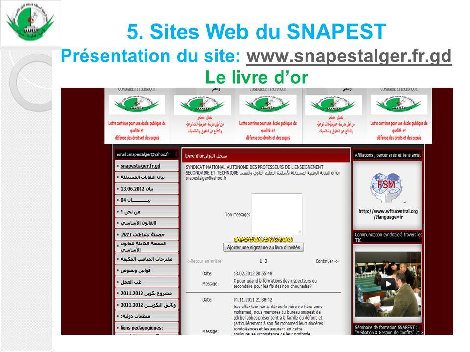 5. Sites Web du SNAPEST Présentation du site: www. snapestalger. fr