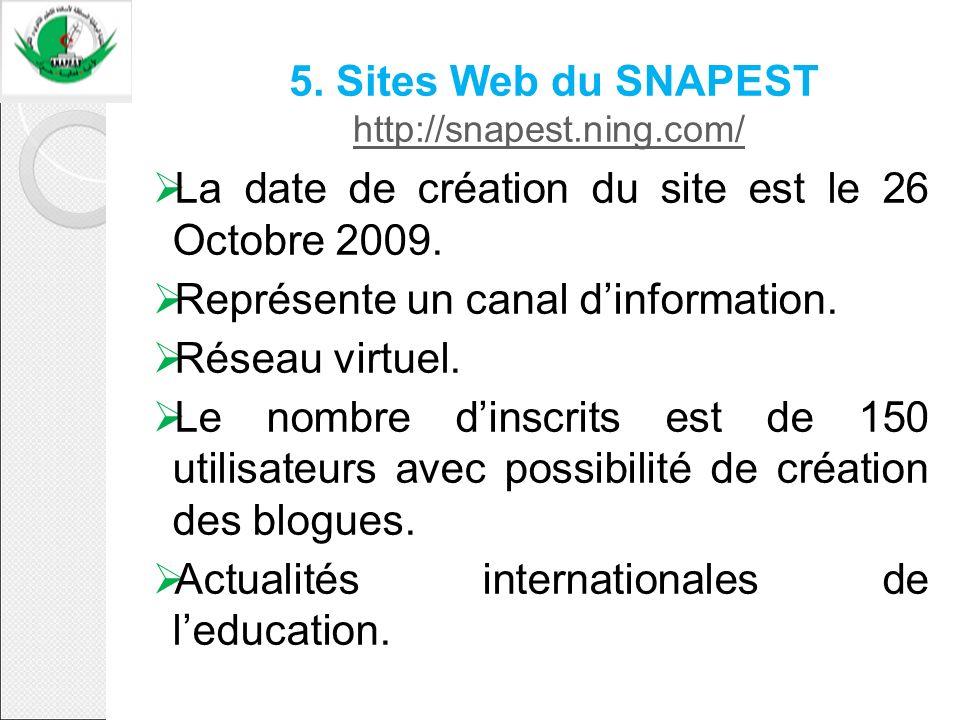5. Sites Web du SNAPEST http://snapest.ning.com/