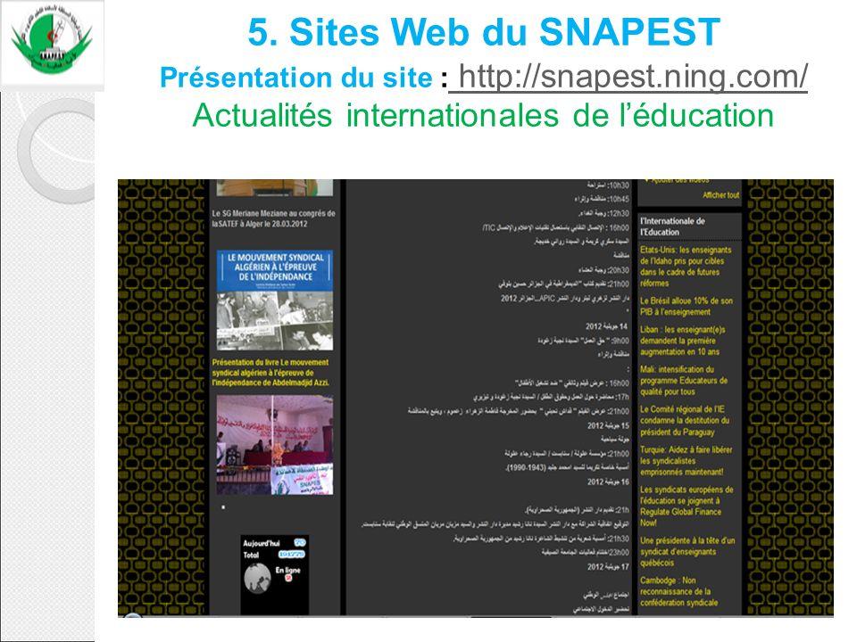 5. Sites Web du SNAPEST Présentation du site : http://snapest. ning