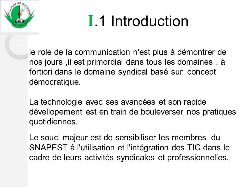 I.1 Introduction