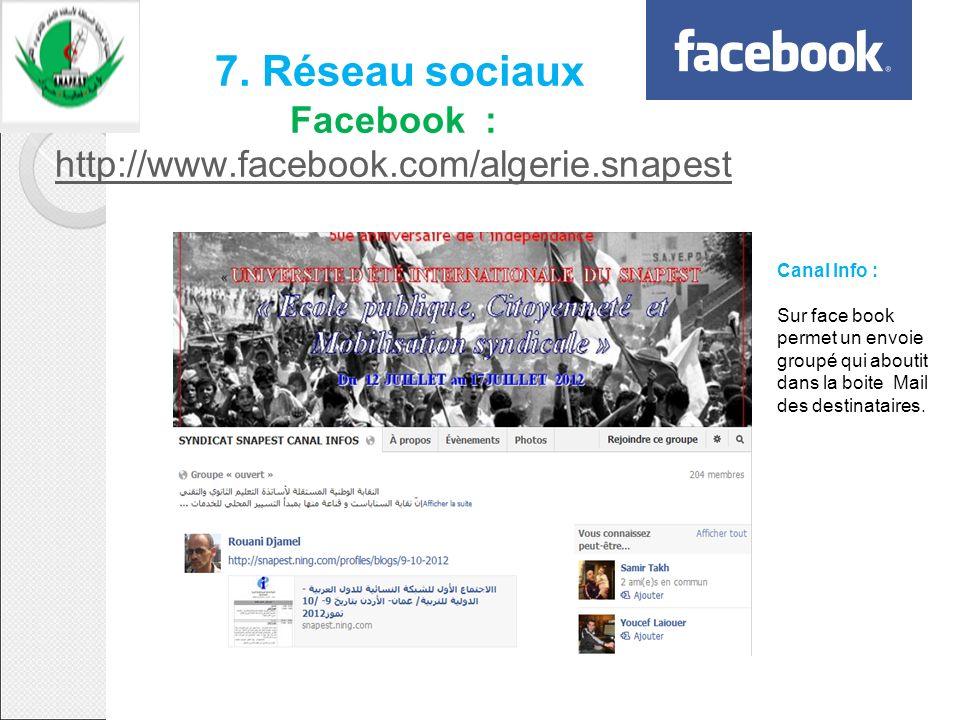 7. Réseau sociaux Facebook : http://www.facebook.com/algerie.snapest