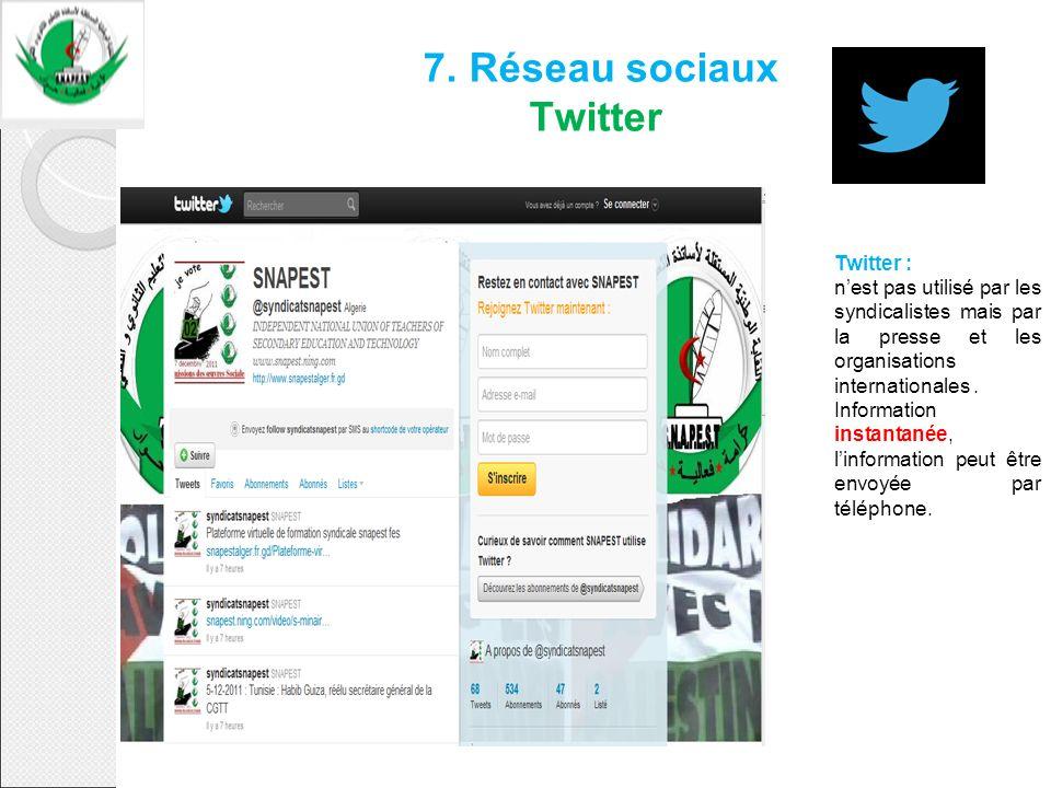 7. Réseau sociaux Twitter