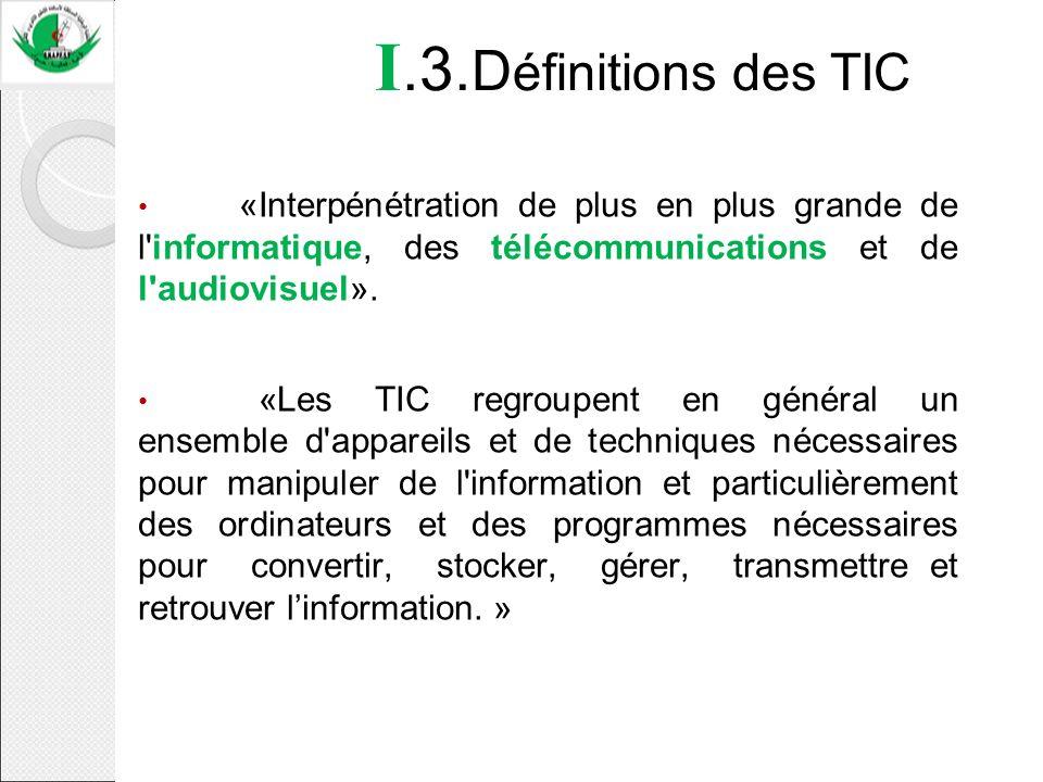I.3.Définitions des TIC «Interpénétration de plus en plus grande de l informatique, des télécommunications et de l audiovisuel».