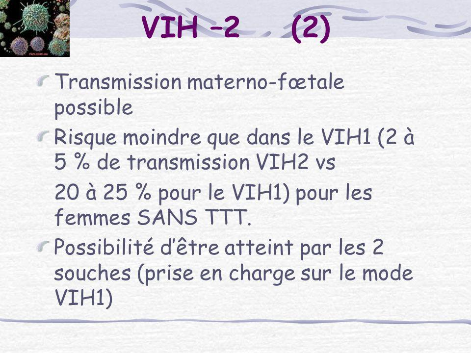 VIH –2 (2) Transmission materno-fœtale possible