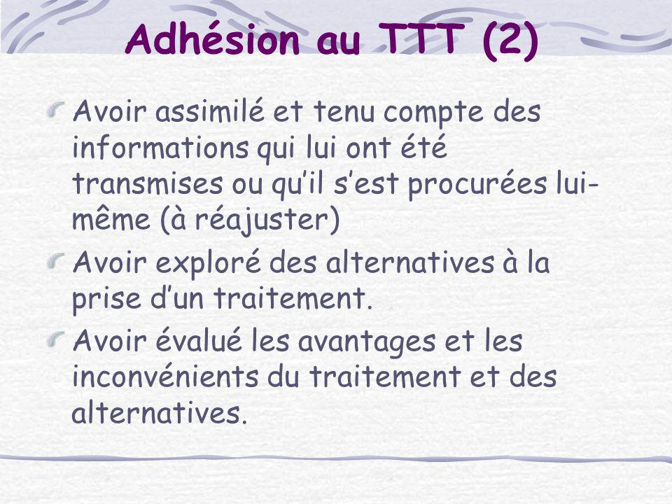 Adhésion au TTT (2) Avoir assimilé et tenu compte des informations qui lui ont été transmises ou qu'il s'est procurées lui-même (à réajuster)