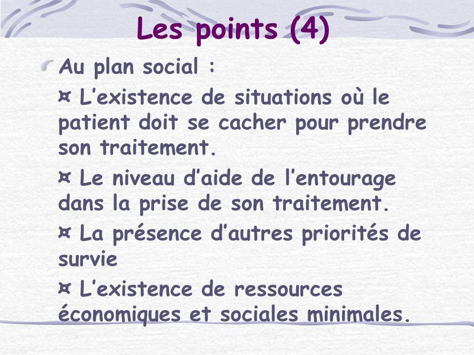 Les points (4) Au plan social :