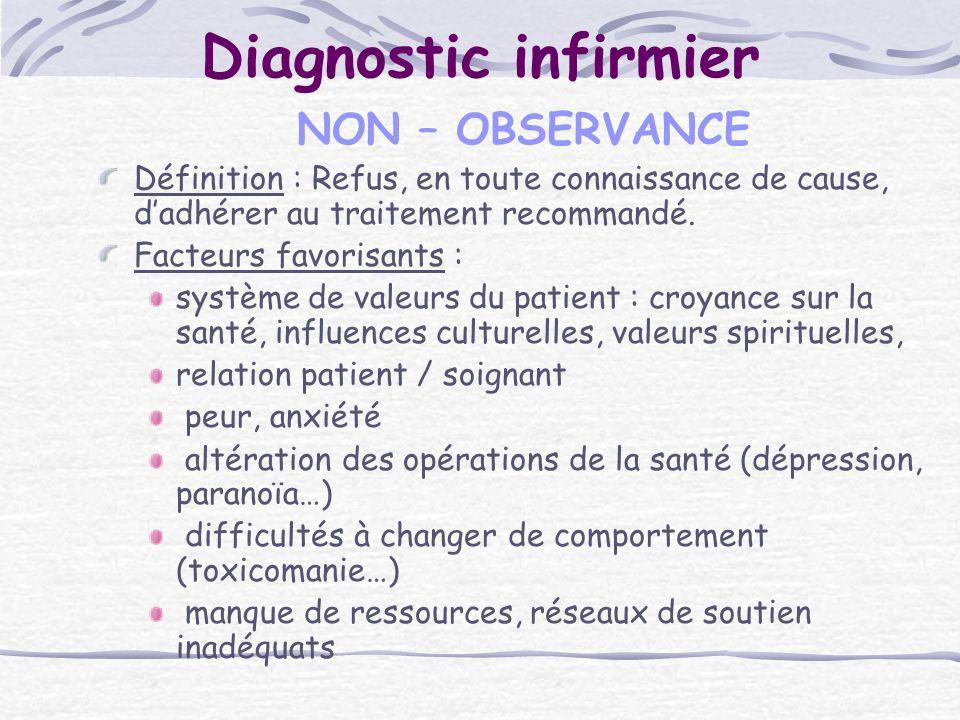 Diagnostic infirmier NON – OBSERVANCE