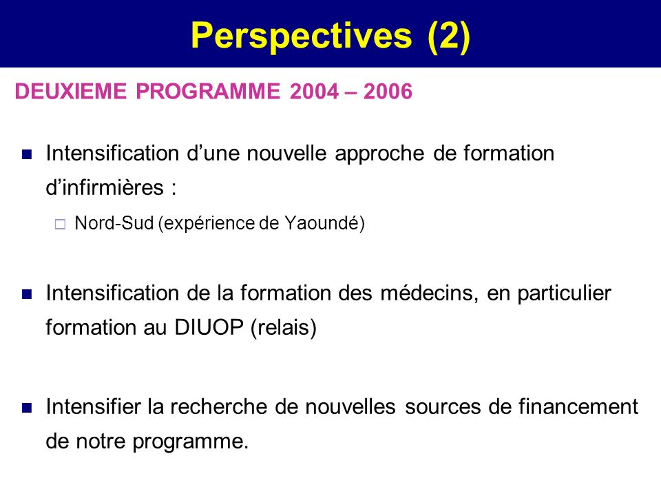 Perspectives (2) DEUXIEME PROGRAMME 2004 – 2006