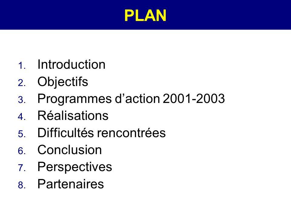 PLAN Introduction Objectifs Programmes d'action 2001-2003 Réalisations