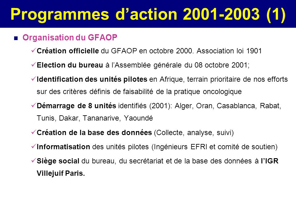 Programmes d'action 2001-2003 (1)